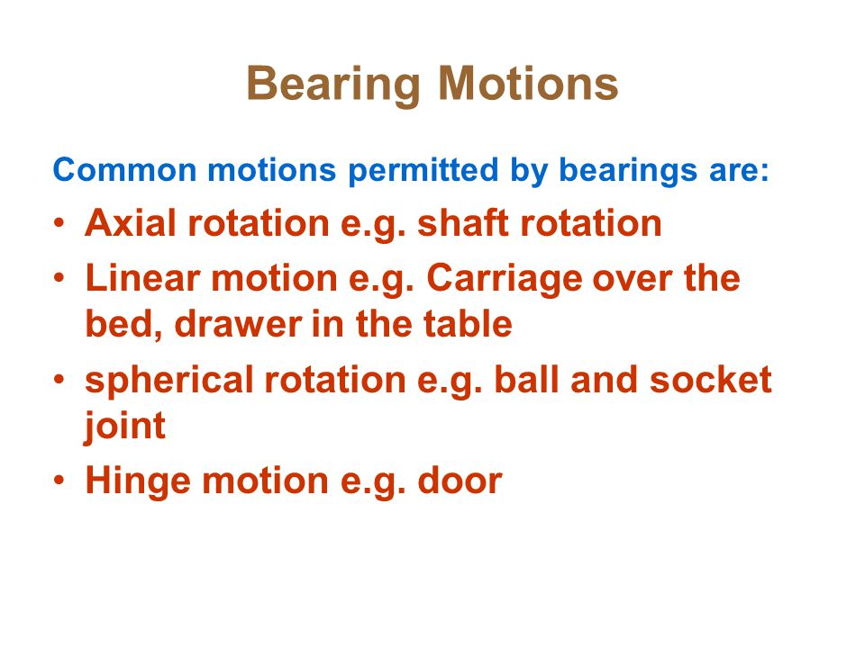Bearing Motions Axial rotation e.g. shaft rotation