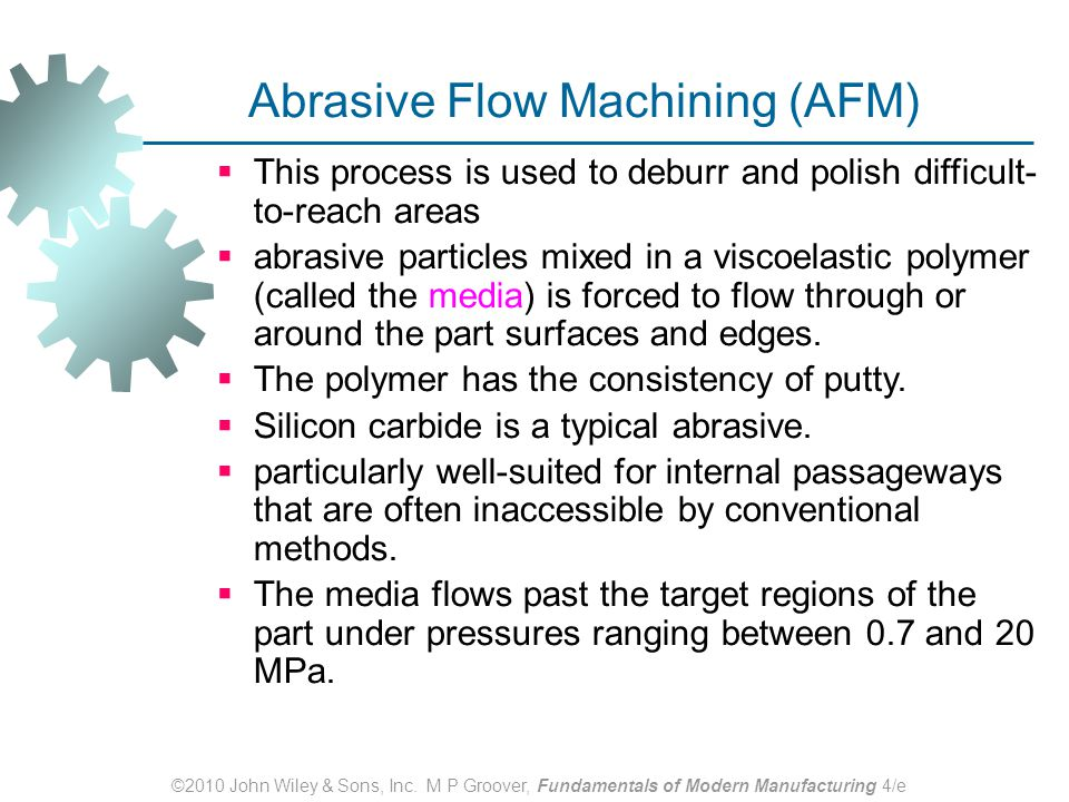 abrasive flow machining Abrasive flow machining (afm), also known as abrasive flow deburring or extrude honing, is an interior surface finishing process characterized by flowing an abrasive.