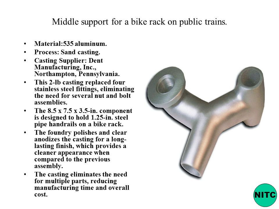 Middle support for a bike rack on public trains.