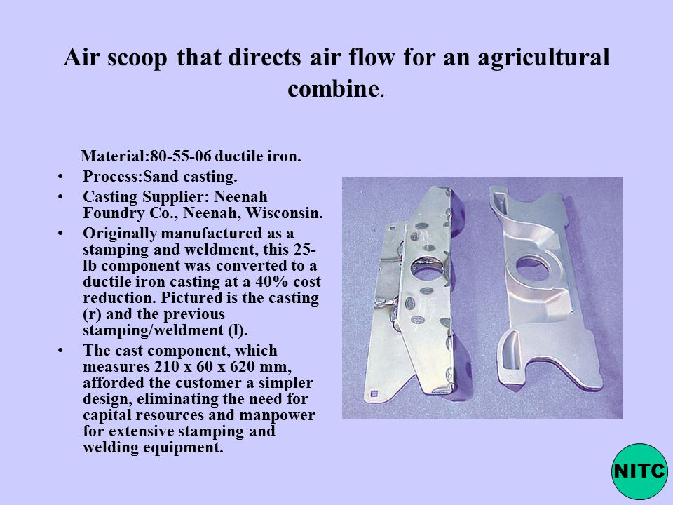 Air scoop that directs air flow for an agricultural combine.