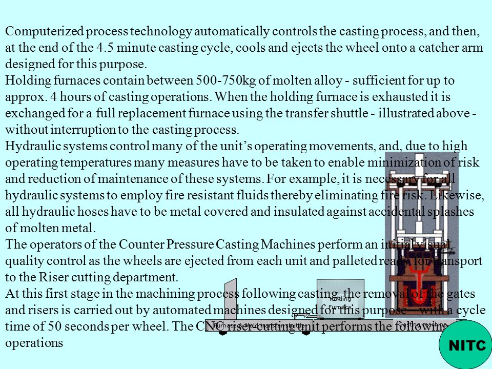 Computerized process technology automatically controls the casting process, and then, at the end of the 4.5 minute casting cycle, cools and ejects the wheel onto a catcher arm designed for this purpose.