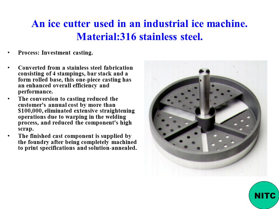 An ice cutter used in an industrial ice machine