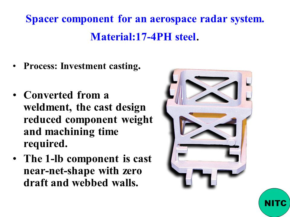 Spacer component for an aerospace radar system. Material:17-4PH steel.