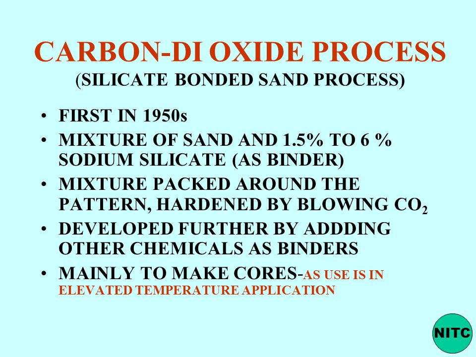 CARBON-DI OXIDE PROCESS (SILICATE BONDED SAND PROCESS)