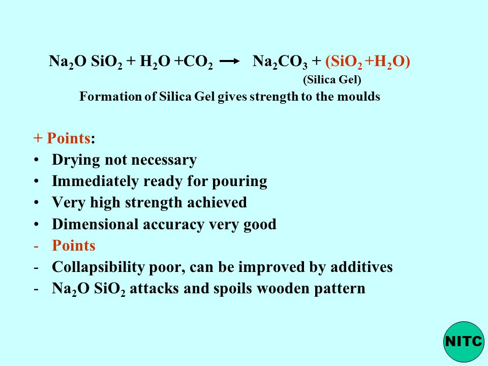 Na2O SiO2 + H2O +CO2 Na2CO3 + (SiO2 +H2O)