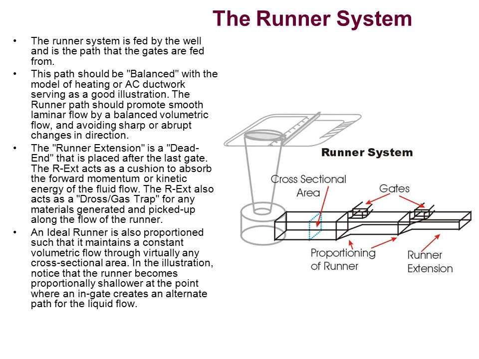 The Runner System The runner system is fed by the well and is the path that the gates are fed from.