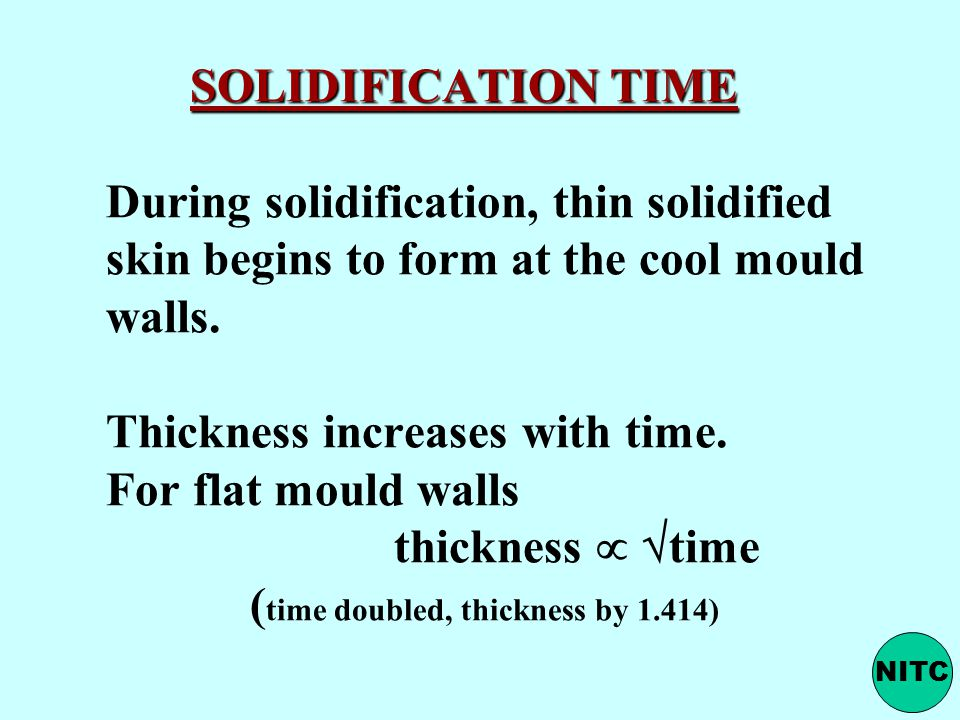 SOLIDIFICATION TIME During solidification, thin solidified skin begins to form at the cool mould walls. Thickness increases with time. For flat mould walls thickness  time (time doubled, thickness by 1.414)