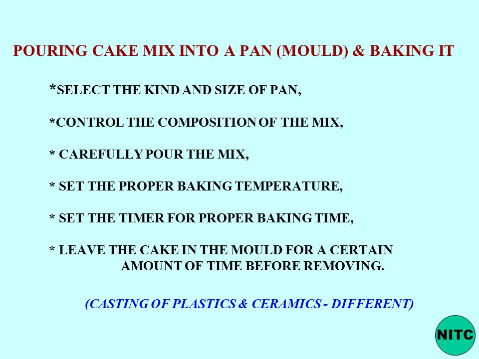 POURING CAKE MIX INTO A PAN (MOULD) & BAKING IT