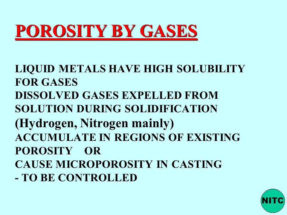 POROSITY BY GASES LIQUID METALS HAVE HIGH SOLUBILITY FOR GASES DISSOLVED GASES EXPELLED FROM SOLUTION DURING SOLIDIFICATION (Hydrogen, Nitrogen mainly) ACCUMULATE IN REGIONS OF EXISTING POROSITY OR CAUSE MICROPOROSITY IN CASTING - TO BE CONTROLLED