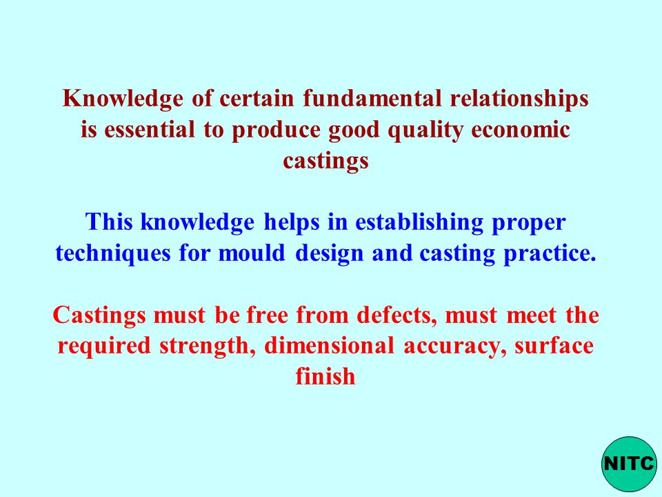 Knowledge of certain fundamental relationships is essential to produce good quality economic castings This knowledge helps in establishing proper techniques for mould design and casting practice. Castings must be free from defects, must meet the required strength, dimensional accuracy, surface finish