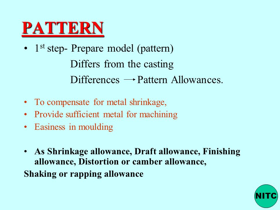 PATTERN 1st step- Prepare model (pattern) Differs from the casting
