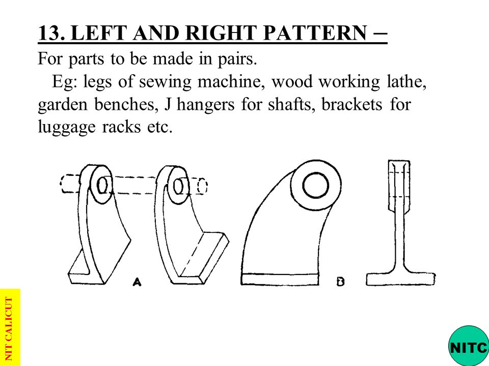 13. LEFT AND RIGHT PATTERN – For parts to be made in pairs