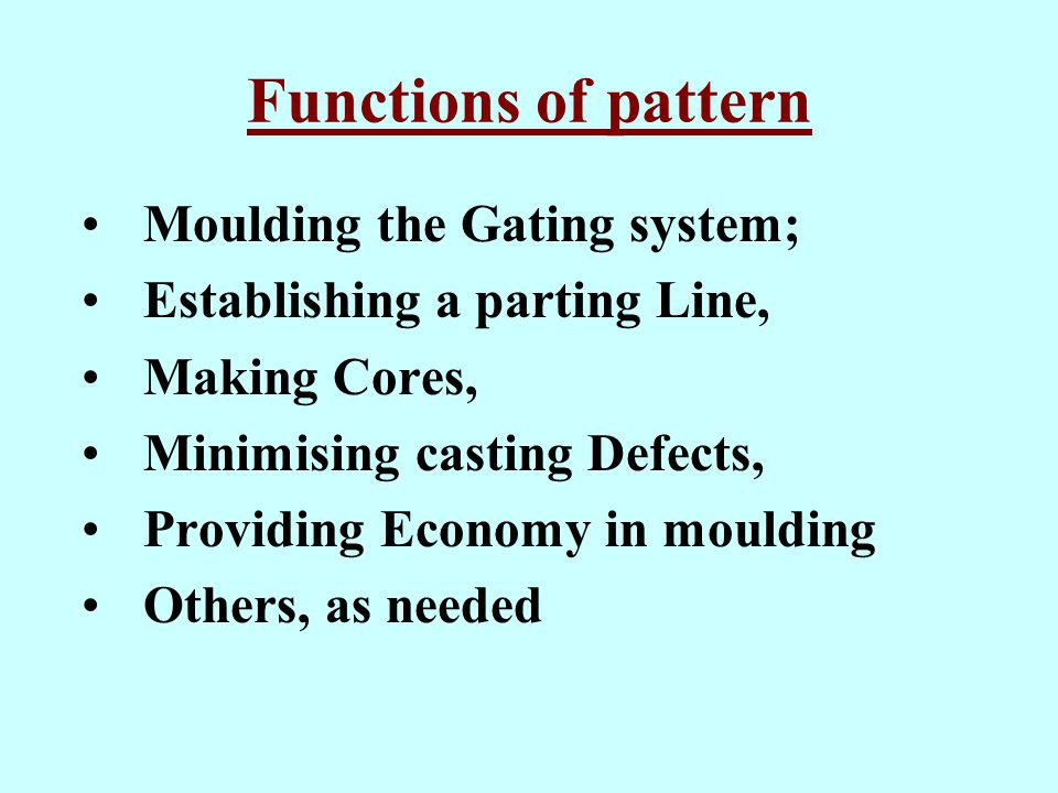 Functions of pattern Moulding the Gating system;