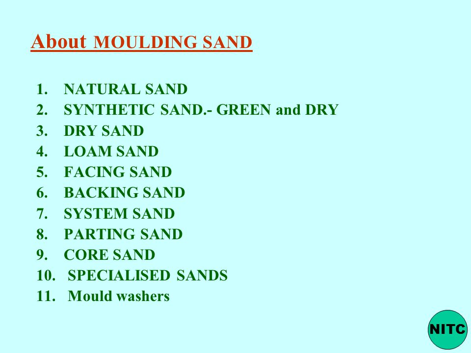 About MOULDING SAND NATURAL SAND SYNTHETIC SAND.- GREEN and DRY