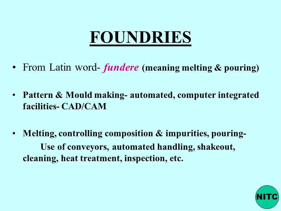 FOUNDRIES From Latin word- fundere (meaning melting & pouring)