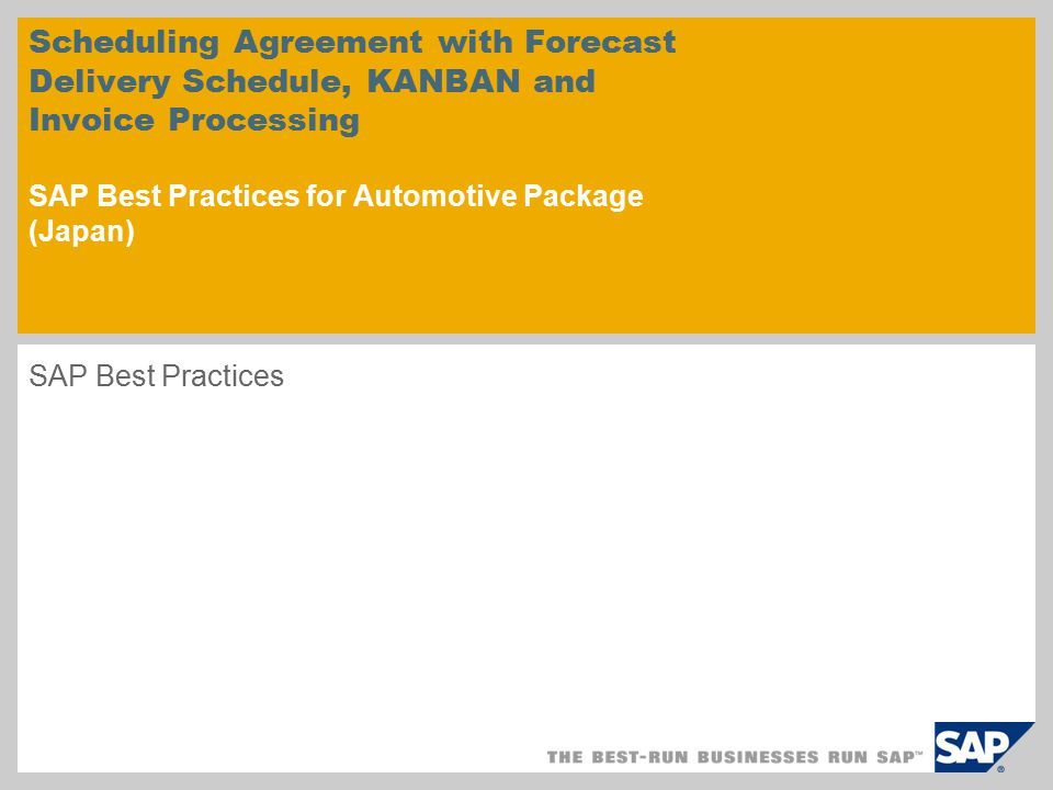Scheduling Agreement With Forecast Delivery Schedule Kanban And