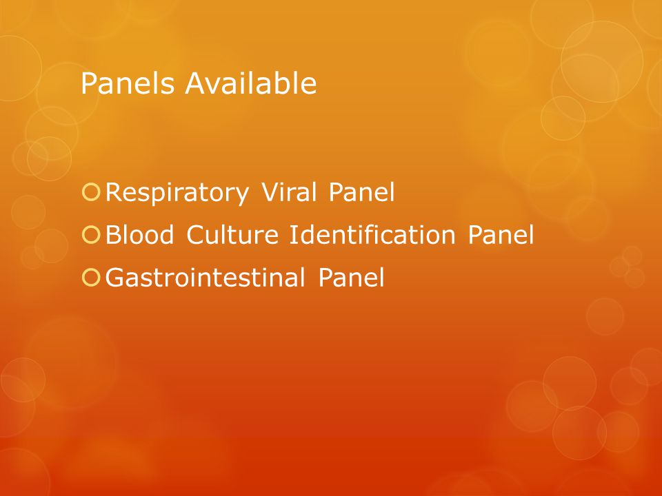 Panels Available Respiratory Viral Panel