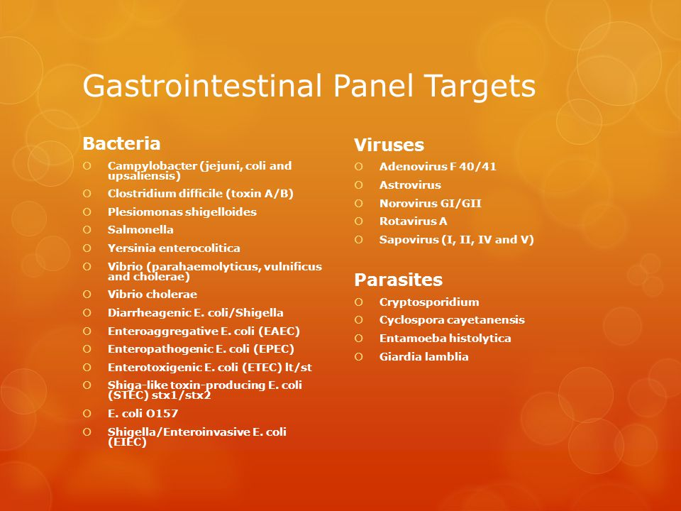 Gastrointestinal Panel Targets