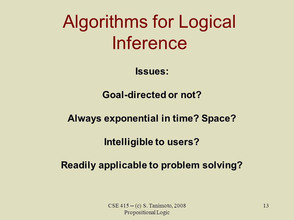 Algorithms for Logical Inference
