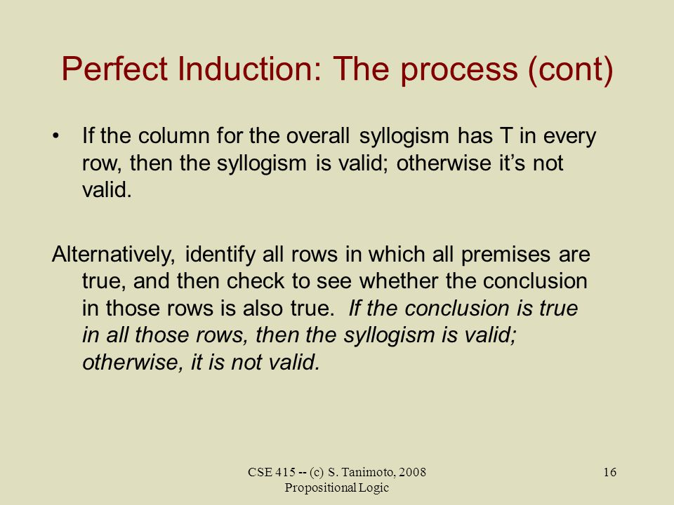 Perfect Induction: The process (cont)