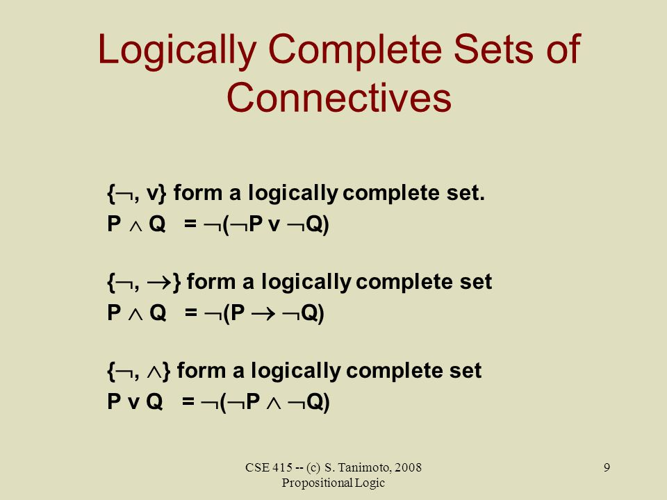 Logically Complete Sets of Connectives