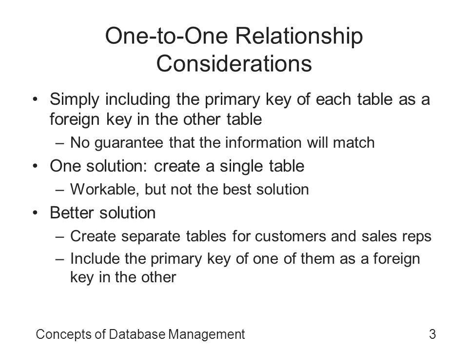 One-to-One Relationship Considerations