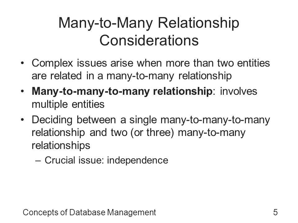 Many-to-Many Relationship Considerations