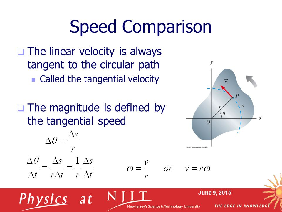 Speed Comparison The linear velocity is always tangent to the circular path. Called the tangential velocity.