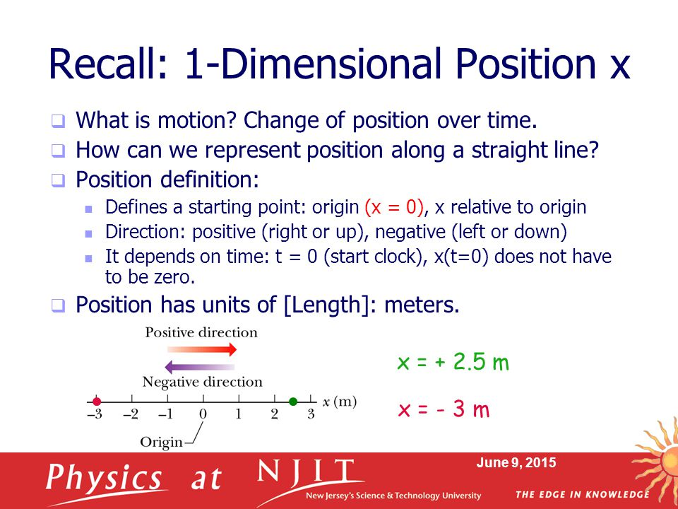 Recall: 1-Dimensional Position x