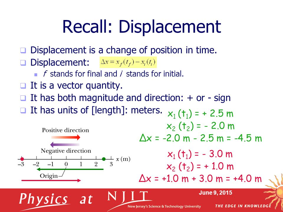 Recall: Displacement Displacement is a change of position in time.