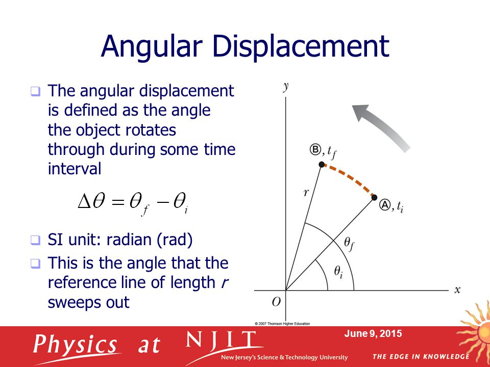 Angular Displacement The angular displacement is defined as the angle the object rotates through during some time interval.