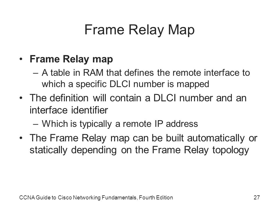 Frame Relay Map Frame Relay map
