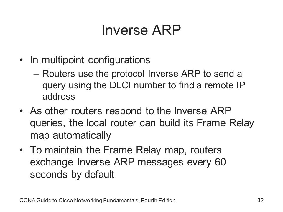 Inverse ARP In multipoint configurations