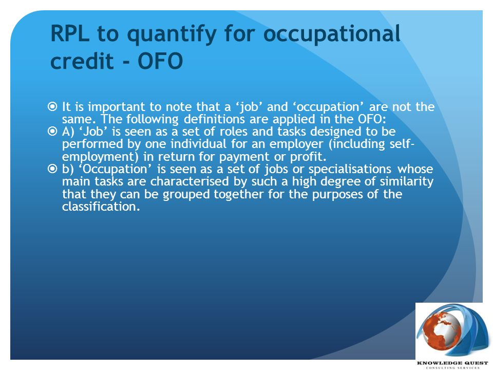 RPL to quantify for occupational credit - OFO