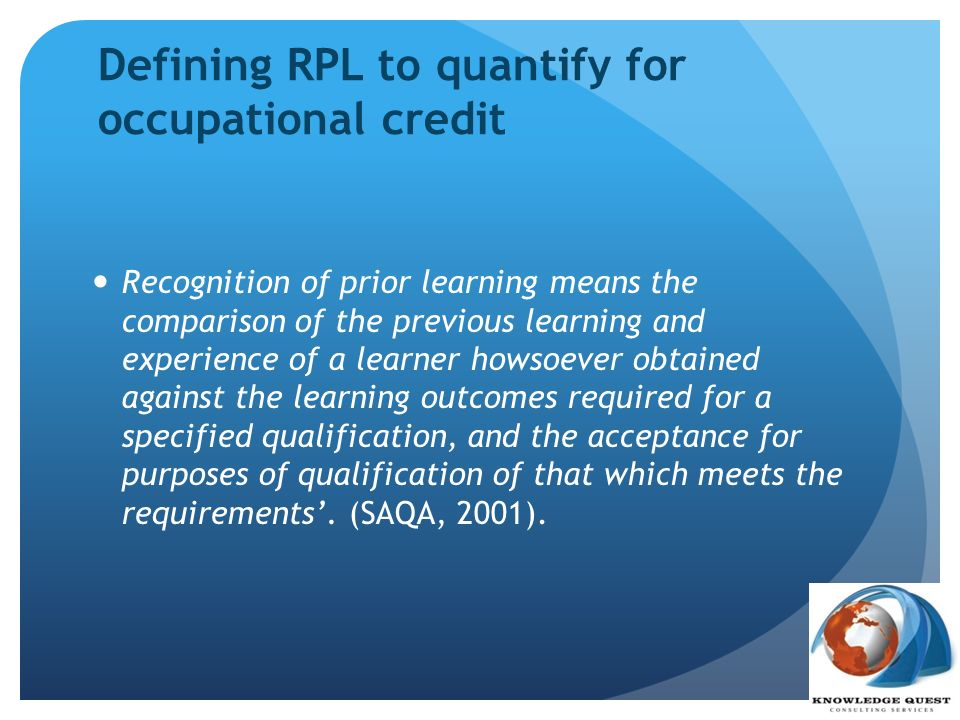 Defining RPL to quantify for occupational credit