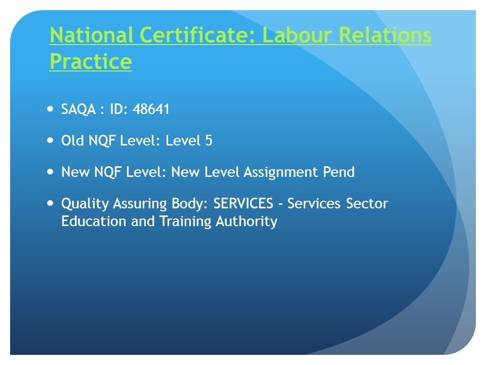 National Certificate: Labour Relations Practice
