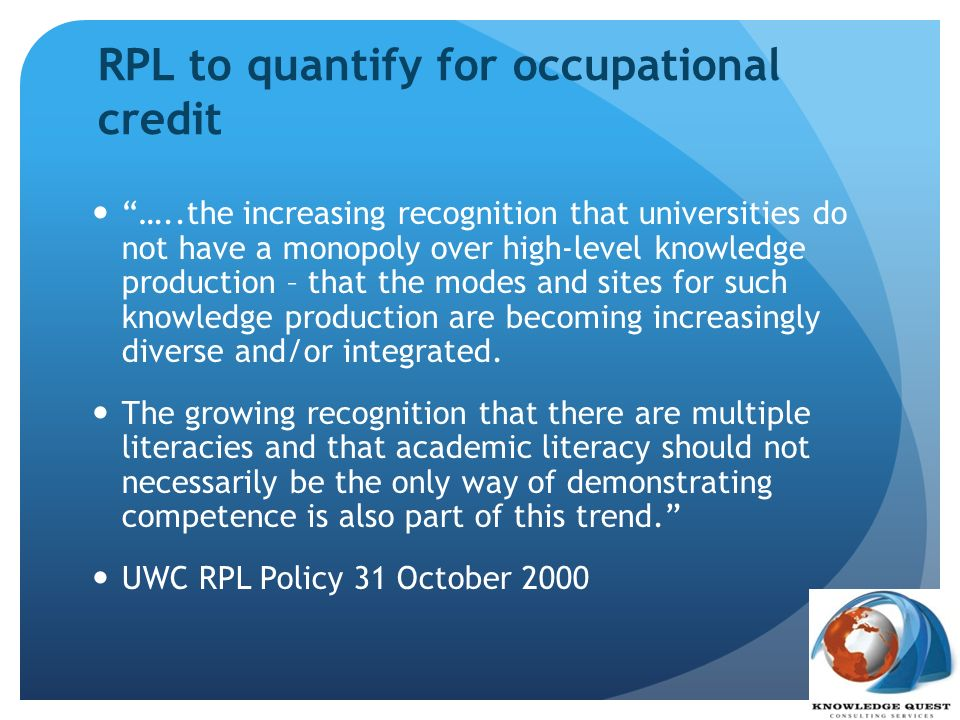 RPL to quantify for occupational credit