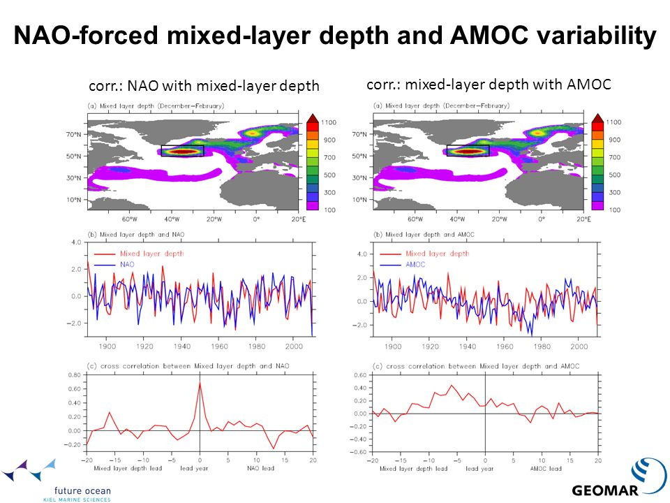 NAO-forced mixed-layer depth and AMOC variability