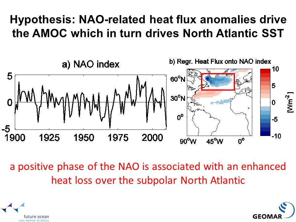 Hypothesis: NAO-related heat flux anomalies drive the AMOC which in turn drives North Atlantic SST