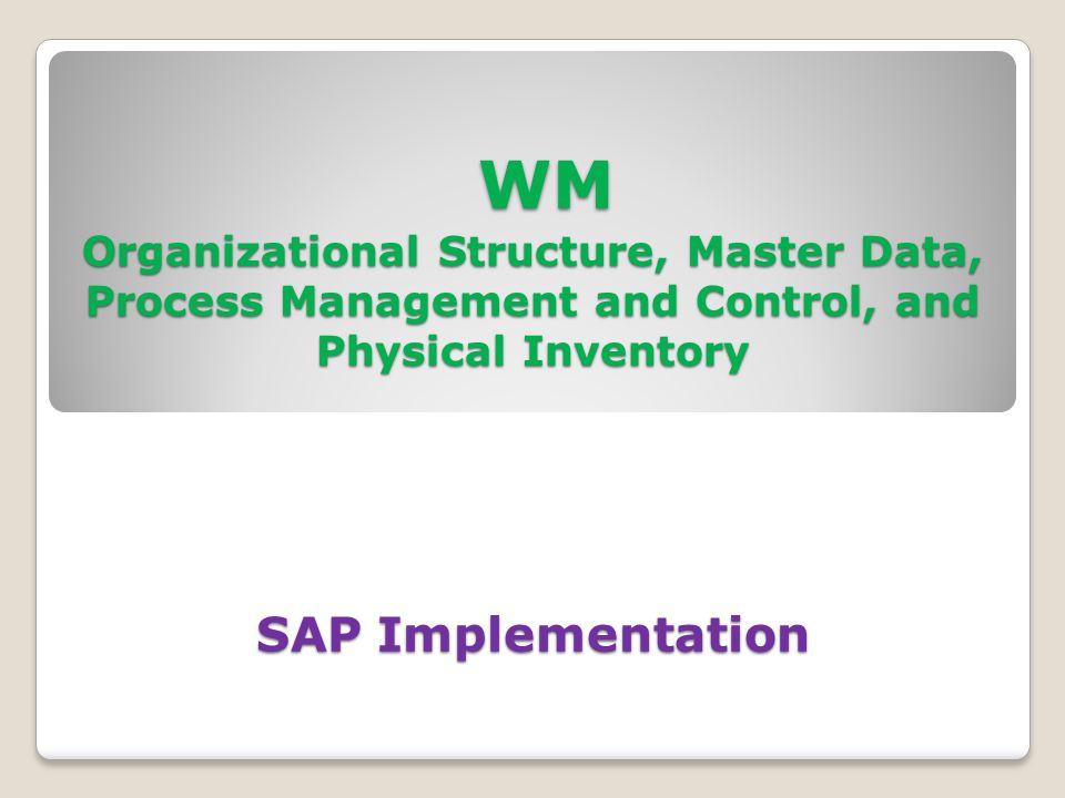 WM Organizational Structure, Master Data, Process Management and Control, and Physical Inventory SAP Implementation