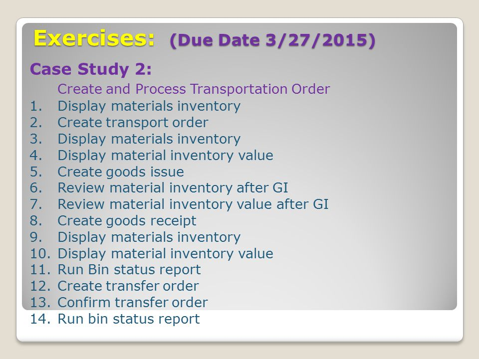 Exercises: (Due Date 3/27/2015)