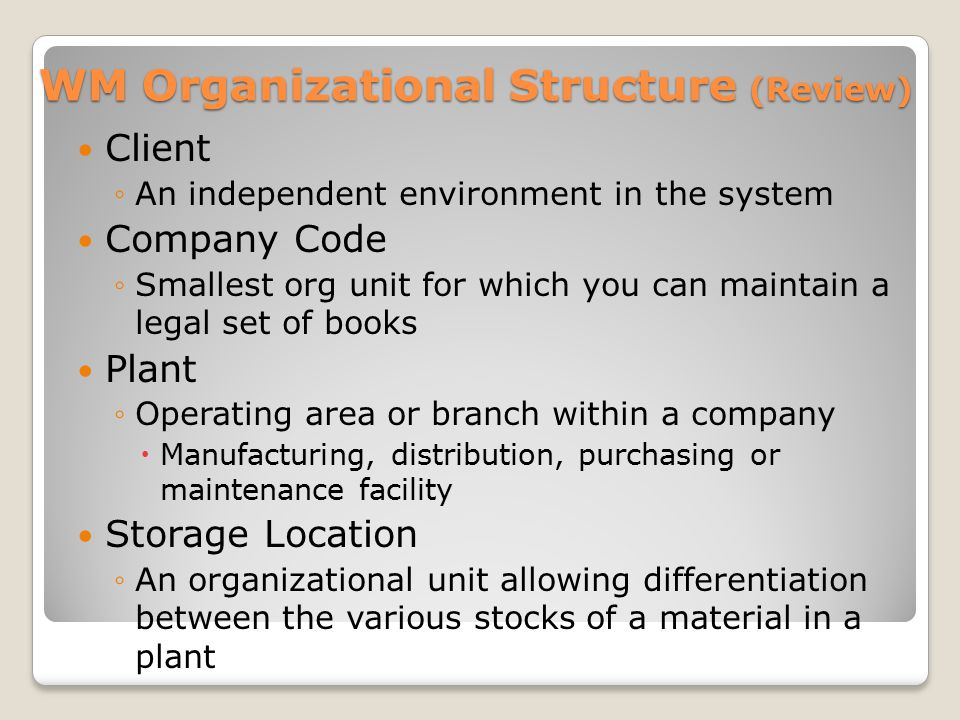 WM Organizational Structure (Review)