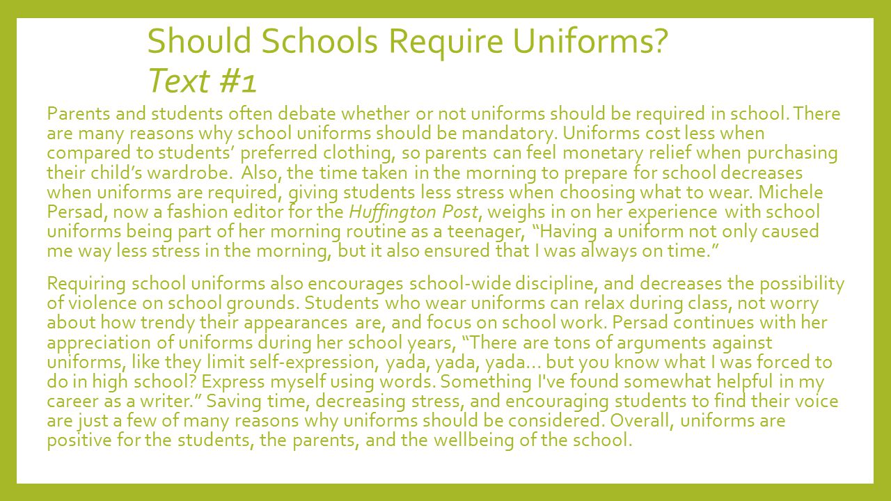 against uniforms in school essay Instead of encouraging respect, uniforms may cause rebellions for example, in 2009, a group of students at john a ferguson senior high school rebelled against their school uniforms instead of following their school uniform requirements, the students wore what they thought would be a better school uniform to school.
