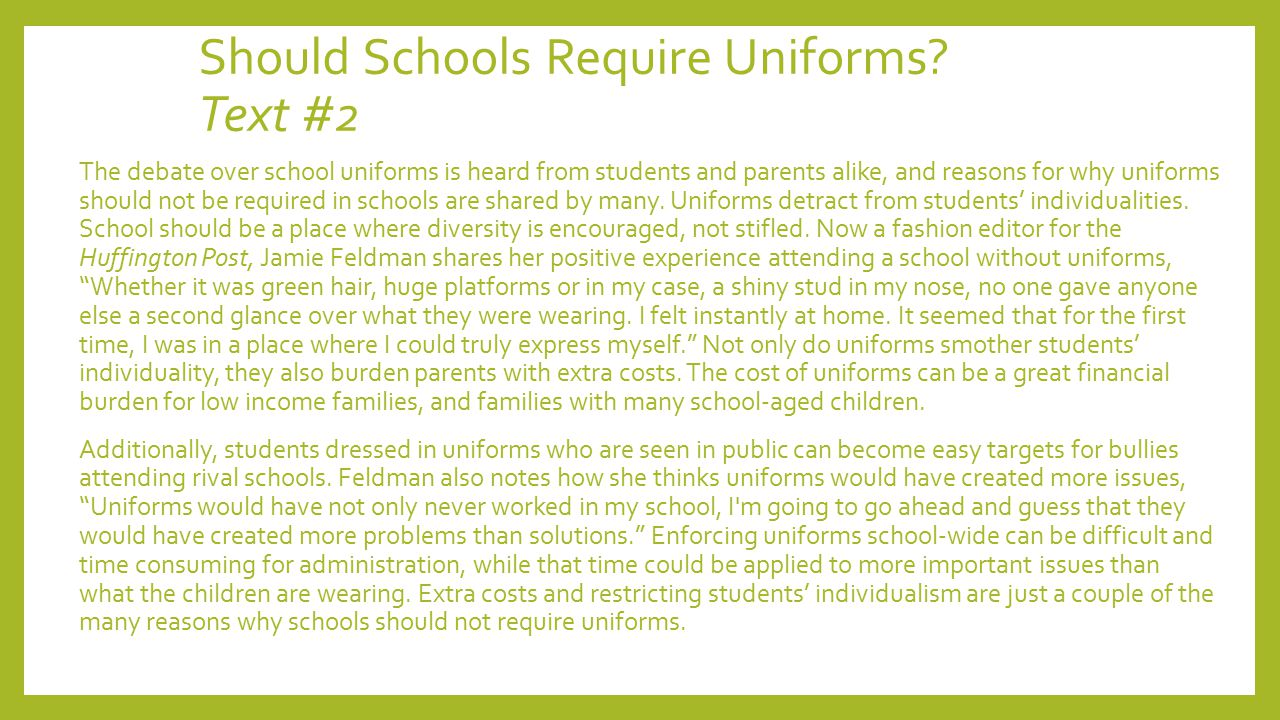 argumentative essay about uniforms in schools Free essay: school uniforms should definitely be used in school systems  uniforms are both good for schools as well as for the students wearing uniforms.