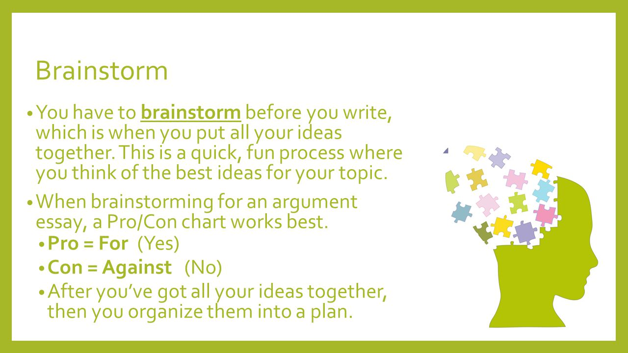 brainstorm of essay Brainstorming and planning: a common problem for students preparing for the test is that they can't come up with ideas for the essay this lesson takes you through the process of generating ideas for your essay through brainstorming, and then putting them into a plan.