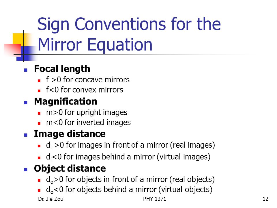 Sign Conventions for the Mirror Equation