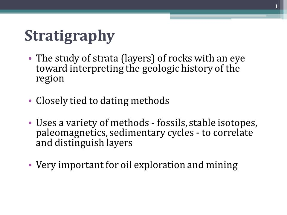 stratigraphy dating Fossils, maps, and stratigraphic columns introduction in this lab radiometric dating is not always an option fossils can be used to determine the ages.