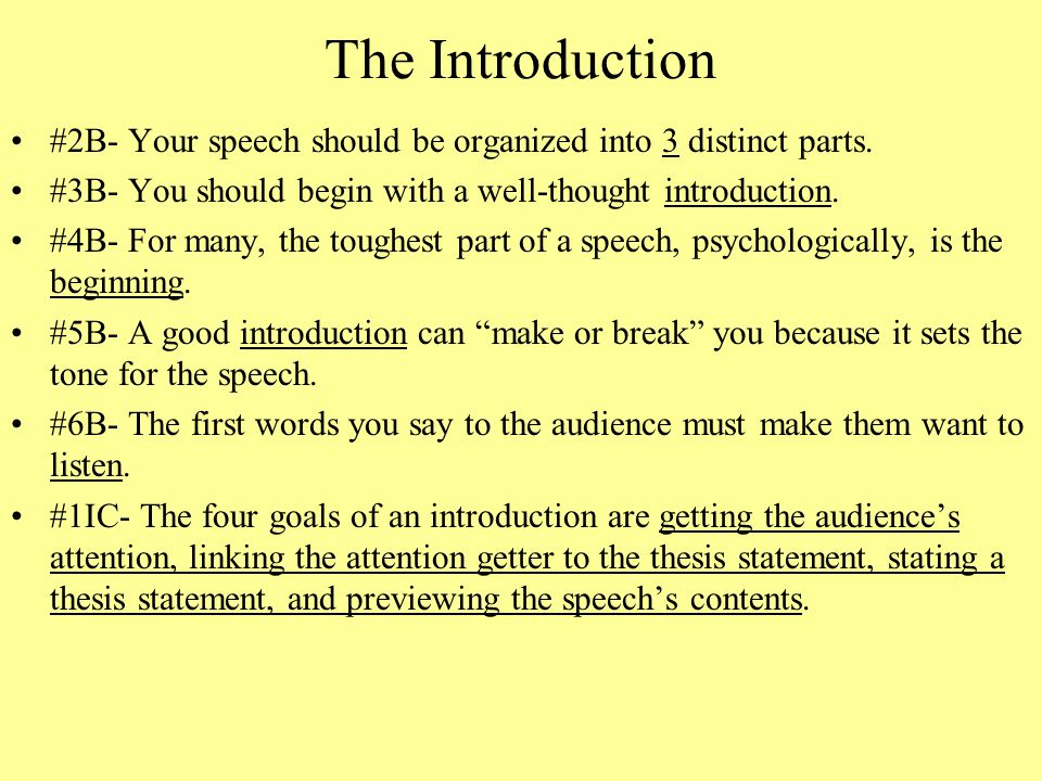 thesis statement for introductory speech A well written thesis statement emphasizes a specific topic and gives readers a clear idea of what the paper or speech will be about a good thesis helps the writer, as well, by organizing the rest of the paper/speech.