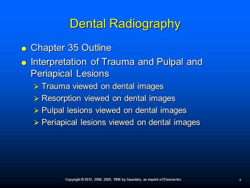 Dental Radiography Chapter 35 Outline