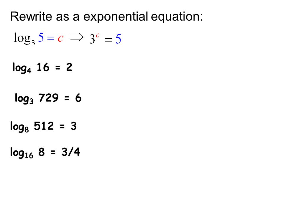 How do you rewrite e4=x in logarithmic equation?